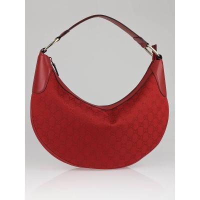 Gucci Red GG Canvas Large Hobo Bag