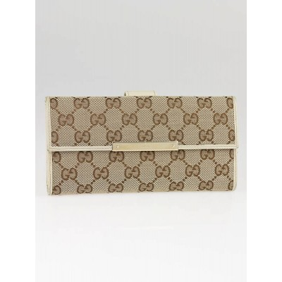 Gucci Beige/Ebony GG Canvas Continental Wallet