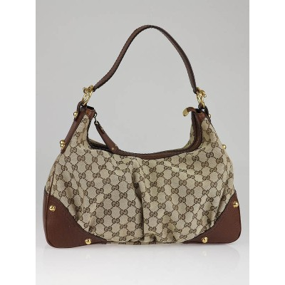 Gucci Beige/Brown GG Canvas Medium Jockey Hobo Bag