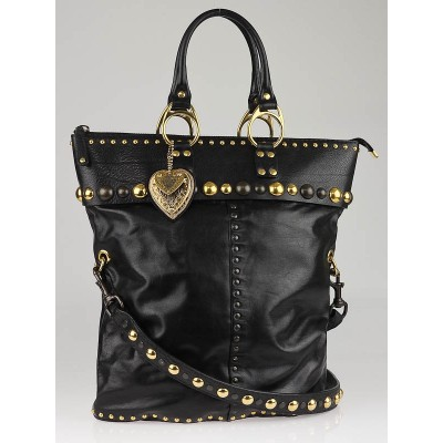 Gucci Black Leather Babouska Large Tote Bag