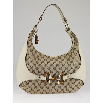 Gucci Beige/Ebony GG Canvas Bamboo Amalfi Medium Hobo Bag