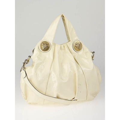 Gucci Ivory Patent Leather Hysteria Large Top Handle Bag