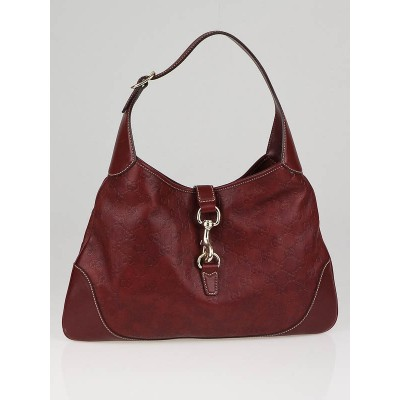 Gucci Dark Red Leather Jackie O Bouvier Hobo Bag