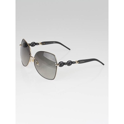 Gucci Black Metal Frame Chain-Link Gradient Lens Sunglasses -GG/4202