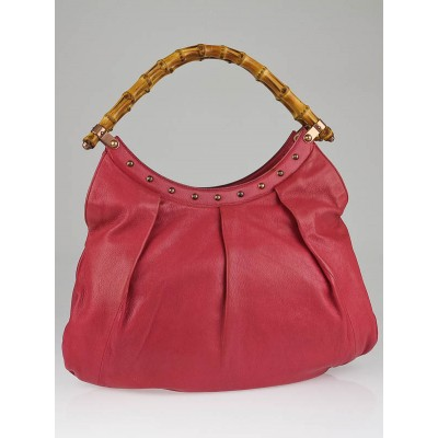 Gucci Pink Leather Bamboo Top Handle Shoulder Bag