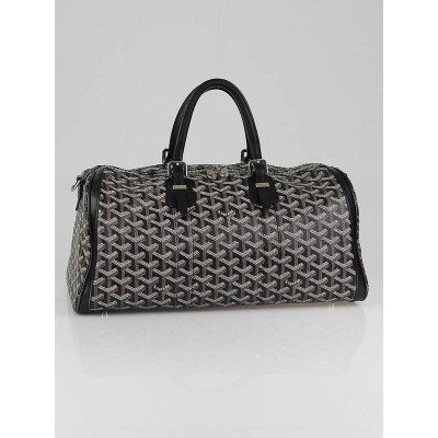 Goyard Black Chevron Coated Canvas Croisiere 35 Satchel Bag