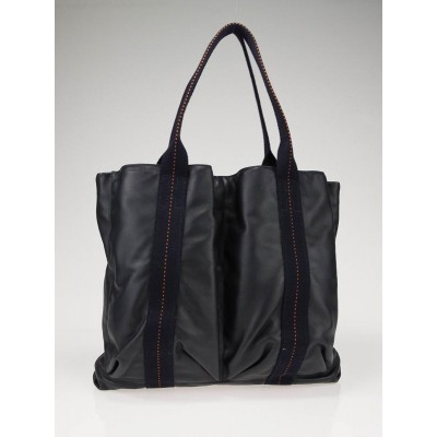 Hermes Navy Blue Leather Caravane GM Tote Bag