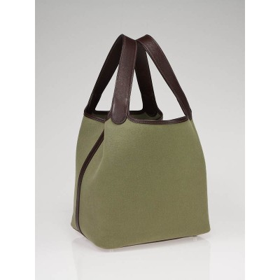 Hermes Green Canvas Picotin MM Bag
