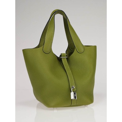 Hermes Vert Chartreuse Clemence Leather Picotin PM Bag