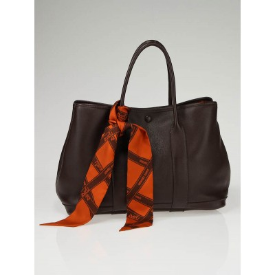 Hermes Chocolate Swift Leather Garden Party TPM Tote Bag