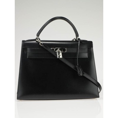 Hermes 32cm Black Box Leather Palladium Hardware Kelly Bag