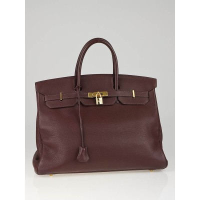 Hermes 40cm Chocolate Clemence Leather with Gold Plated Hardware Birkin Bag