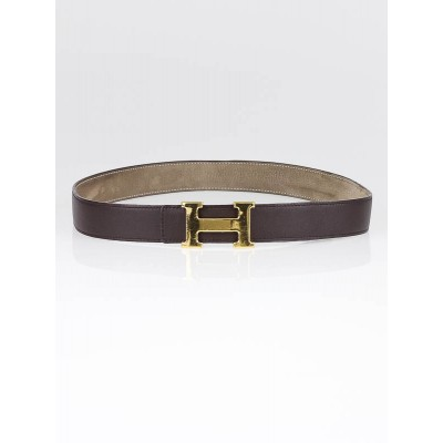 Hermes Brown Box Leather Constance H Gold Hardware Belt