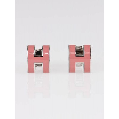 Hermes Pink Enamel and Palladium Pop-H Stud Earrings