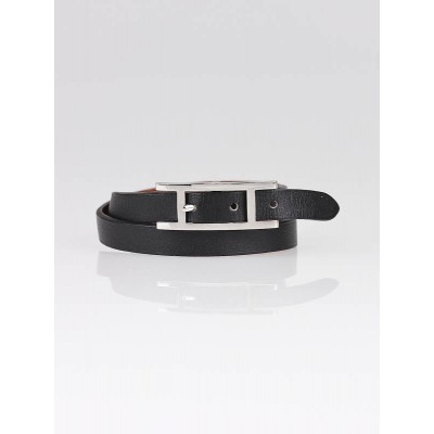 Hermes Black Leather Behapi Double Tour Bracelet