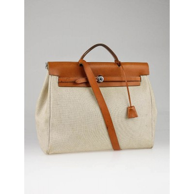 Hermes 35cm Toile/Tan Leather Herbag PM 2-in-1 Bag