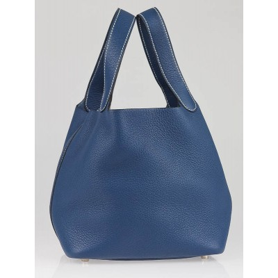 Hermes Blue Thalassa Clemence Leather Picotin PM Bag