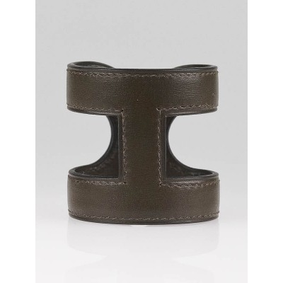 Hermes Vert Olive Leather Ano Cuff Bracelet