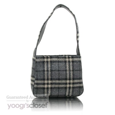 Burberry Vintage Grey Wool Classic Check Small Shoulder Bag