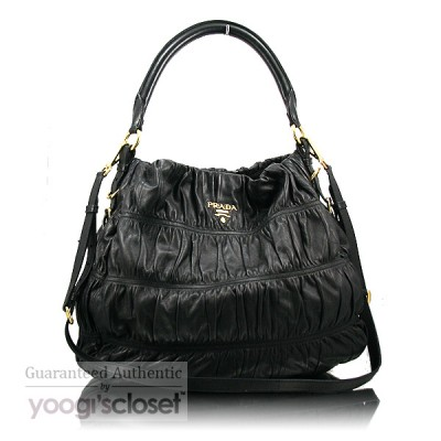 Prada Black Ruched Lambskin Nappa Gauffre Shoulder Bag BR3750