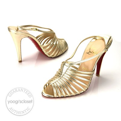 Christian Louboutin Gold Leather Bretelle 100 Nappa Laminato Sandals Heels Size 8.5