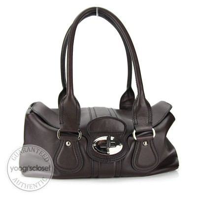 Tod's Chocolate Brown Leather Runner Bauletto Bag