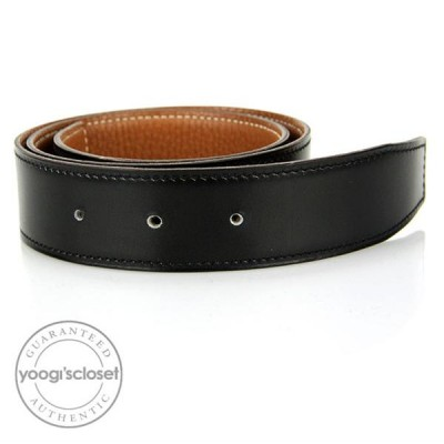 Hermes Black Box/Gold Togo Calfskin 32 mm Leather Belt Strap