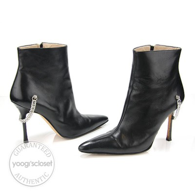 Manolo Blahnik Black Chain Leather Ankle Boots Size 9/39