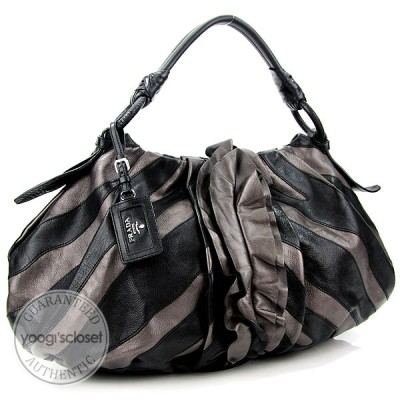 Prada Bronze/Black Leather Ruffle Stripes Vitellino Mordore Large Hobo Bag BR3984