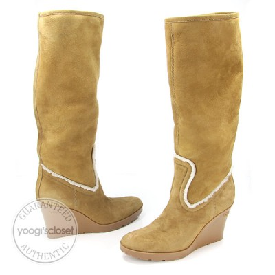 Gucci Tan Suede Shearling Wedges Tall Boots Size 8???« / 38???«