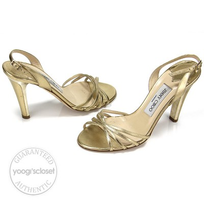Jimmy Choo Gold Leather Evening Sandals Size 37/7