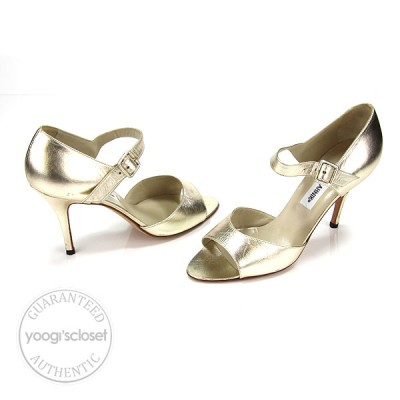 Manolo Blahnik Gold Leather Open Toe Ankle Strap Heels Size 36.5/6.5