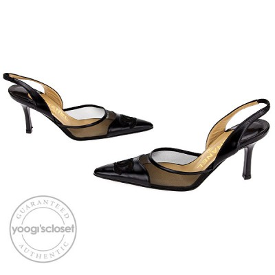 Chanel Black Leather and Mesh CC Logo Slingback Heels Size 5.5