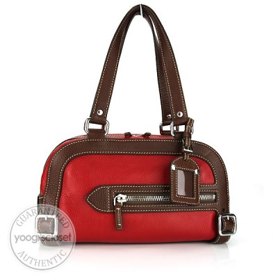Prada Rosso/Tobacco Leather Vitello Daino Bauletto Bag BL0219
