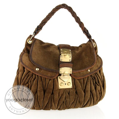 Miu Miu Brown Suede Coffer Matelasse Hobo Bag
