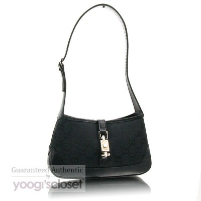 Gucci Black GG Fabric Jackie O Mini Shoulder Bag