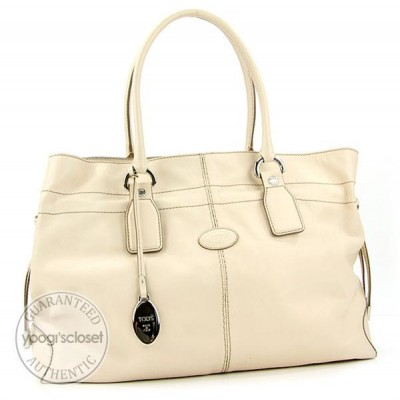 Tod's Ivory Leather New Restyling D-Bag Media Bag