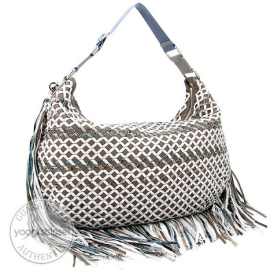 Marc Jacobs Brown/Grey Leather Fringe Trim Boho Woven Large Hobo Bag