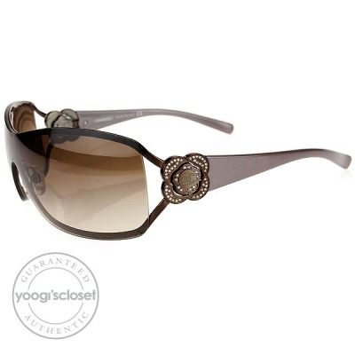 Chanel Brown Frame Camelia Flower Crystal CC Logo Sunglasses