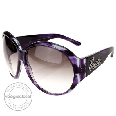 Gucci Purple and Grey Gradient Swarovski Cyrstal Logo Sunglasses