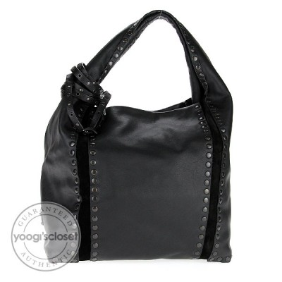 Jimmy Choo Black Leather Studded Saba Hobo Bag