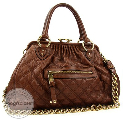 Marc Jacobs Brown Quilted Calfskin Leather Stam Bag