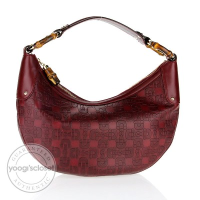 Gucci Red Leather Horsebit Embossed Bamboo Ring Hobo Bag