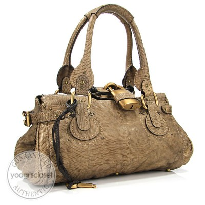 Chloe Limited Edition Washed Lizard Paddington Medium Satchel Bag