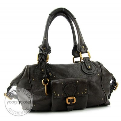 Chloe Moka Leather Large Paddington Satchel Bag