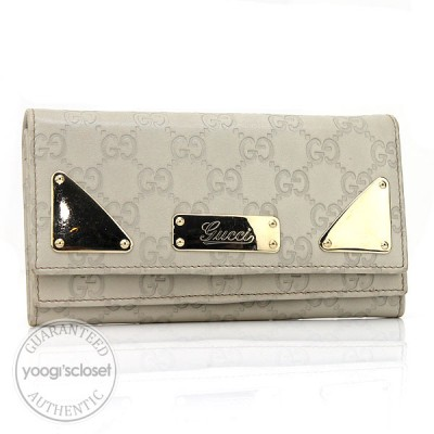 Gucci Ivory Leather Guccissima Long Wallet