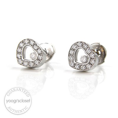 Chopard 18K White Gold Happy Diamonds Earrings