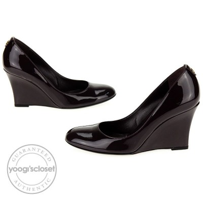 Gucci Plum Patent Leather Wedges Heels Size 5.5
