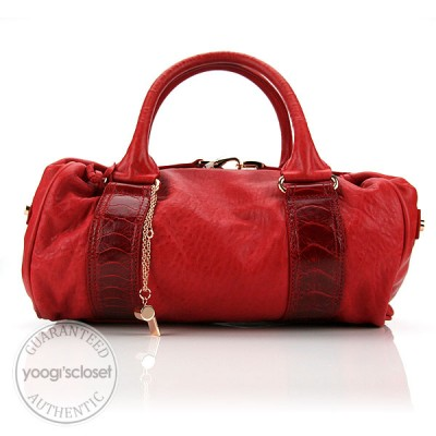 Balenciaga Red Lambskin w/Ostrich Trim Whistle Bag