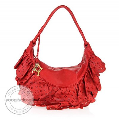 Christian Dior Red Leather Large Gypsy Ruffle Bag